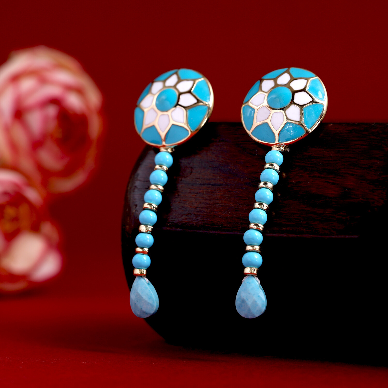 Estele Handmade Dangle Drop Tibetan Earrings