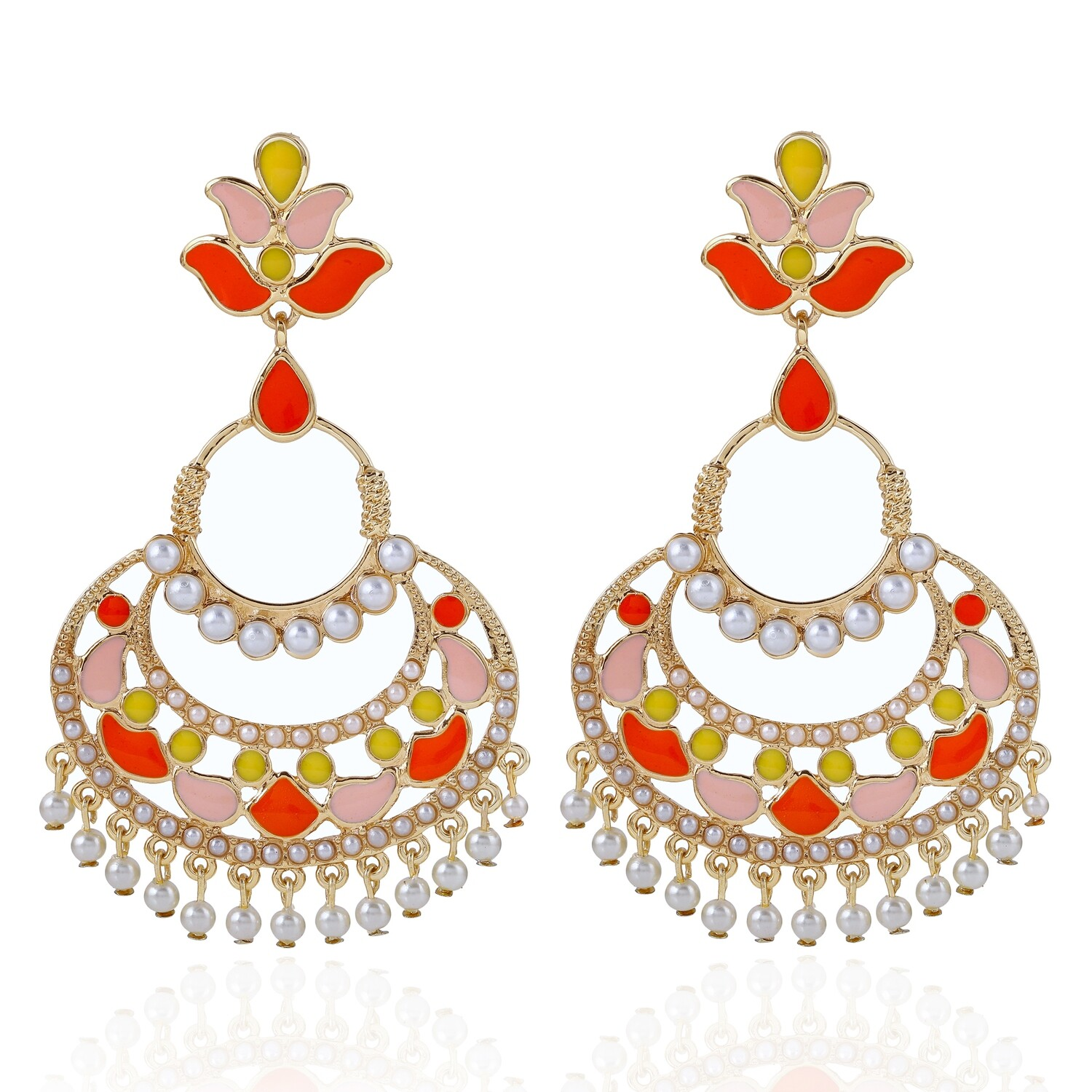 Estele Multi Colour Enamel  Chandbali Earrings