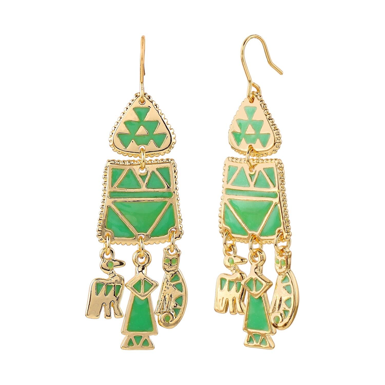 Estele Traditional Gold Plated Green Enamel Hoop Earrings