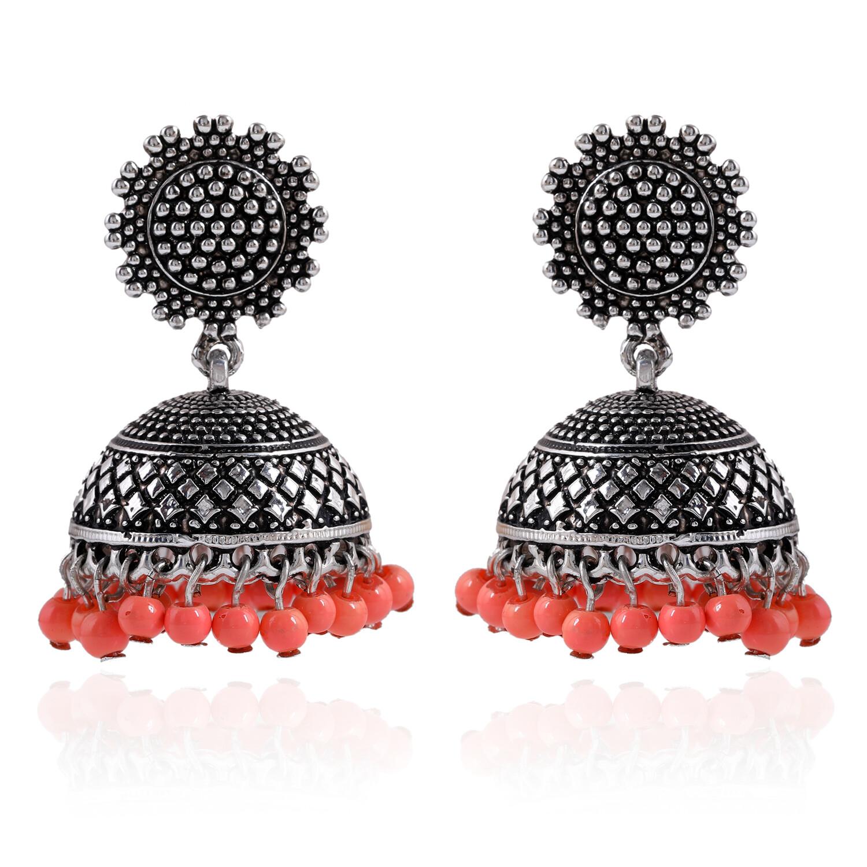 Estele Oxidised  drop Beads Jhumki