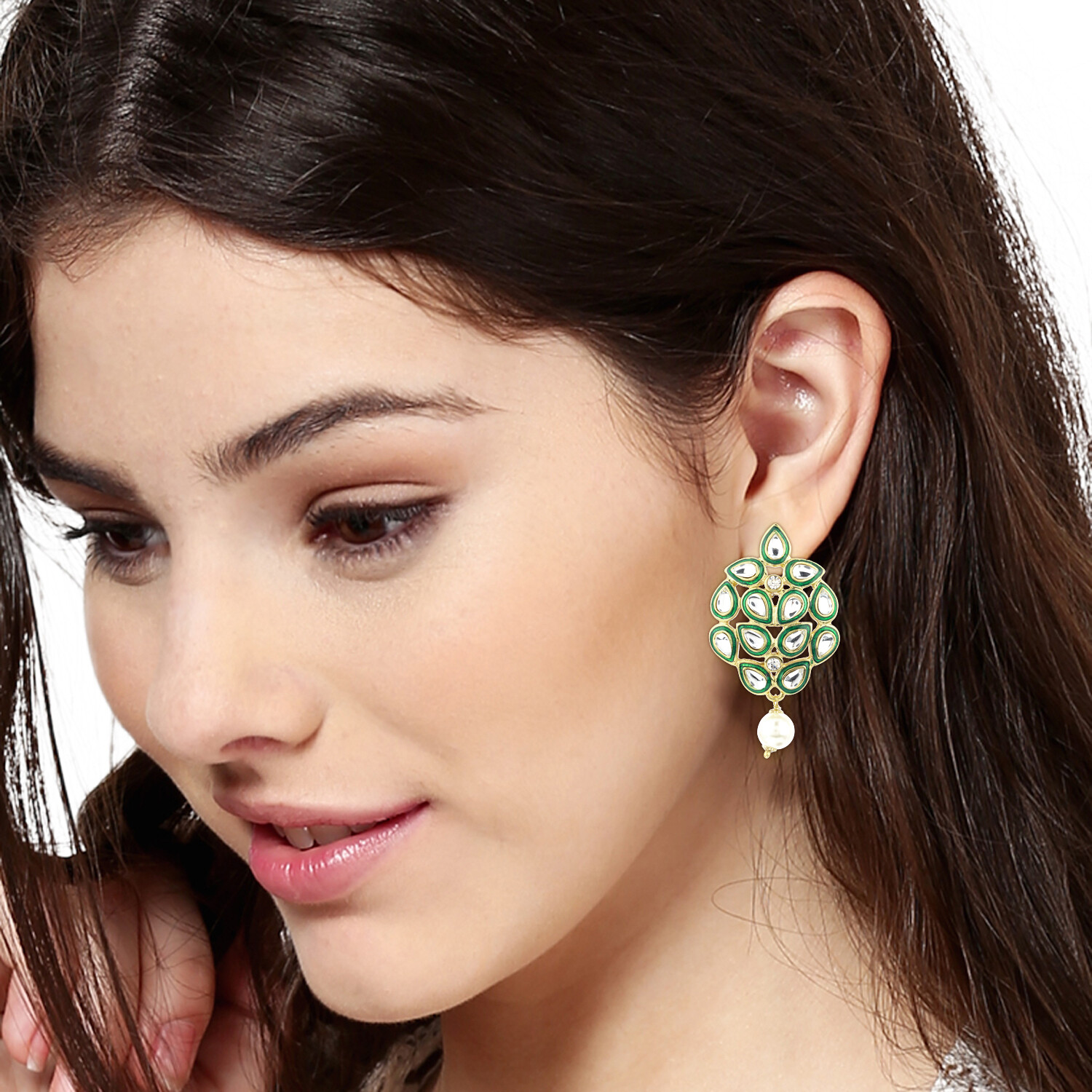 Estele Mirror Kundan Green enamel Earrings