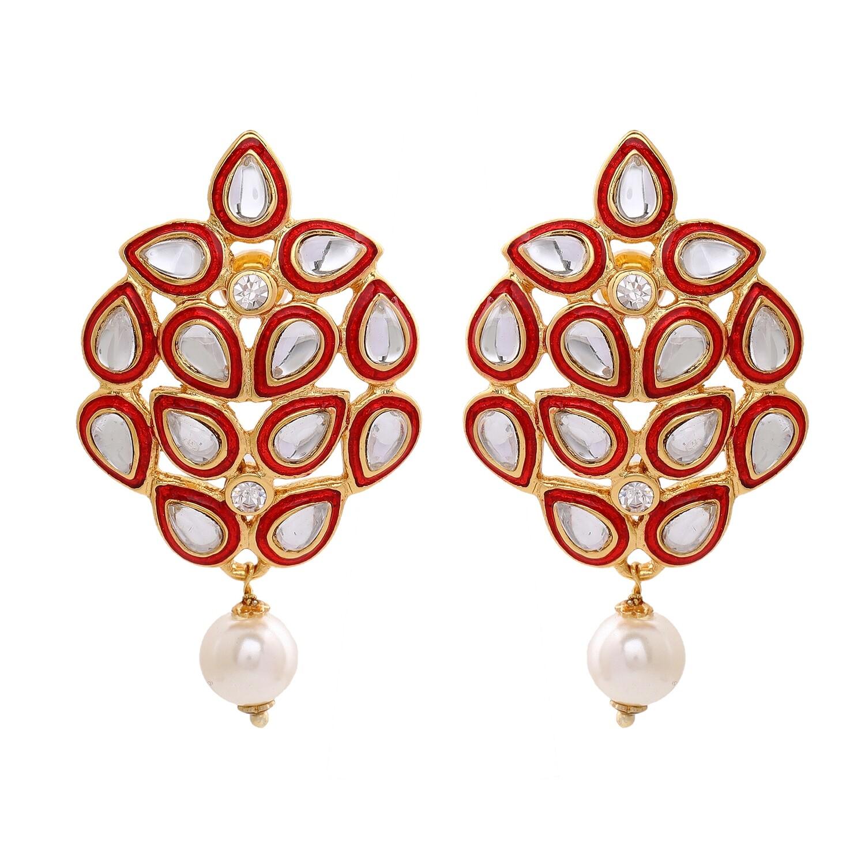 Estele Mirror Kundan Red enamel Earrings