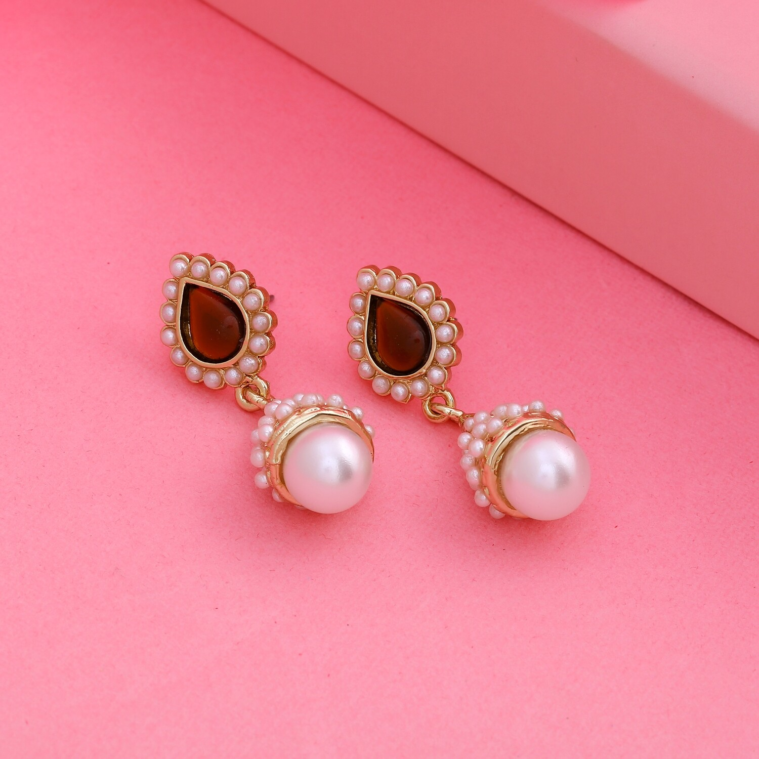 Estele Traditional 24Kt Gold Plated Pearl amber Jhumkis