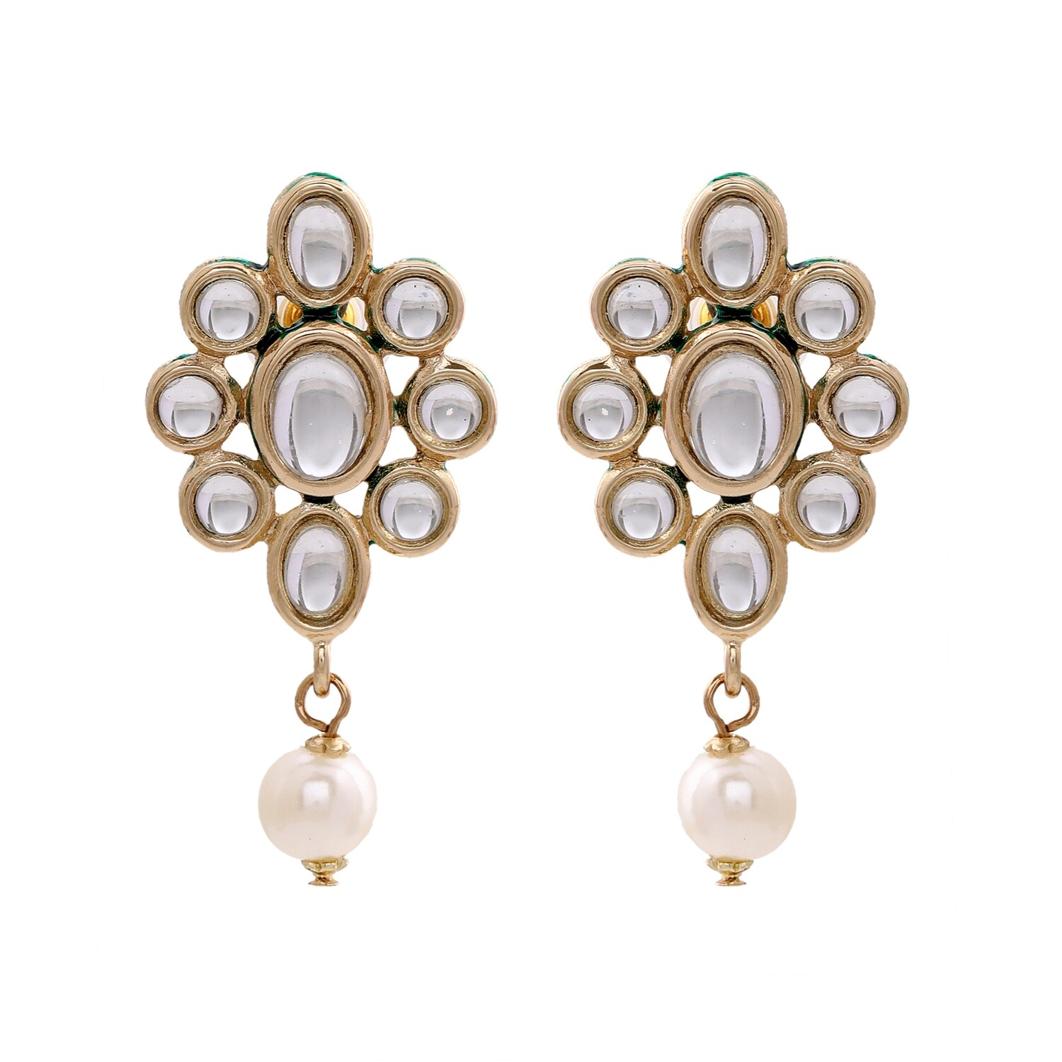 Estele Trendy Fancy Party Wear Gold Plated Pearl Drop Stud Earrings