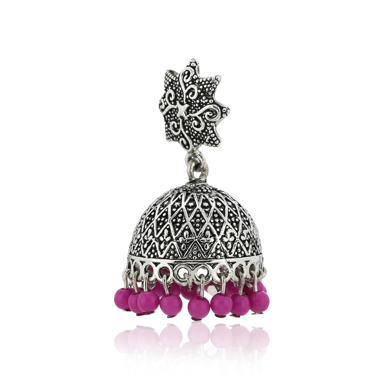 Estele Oxidised Pink Beads Jhumki