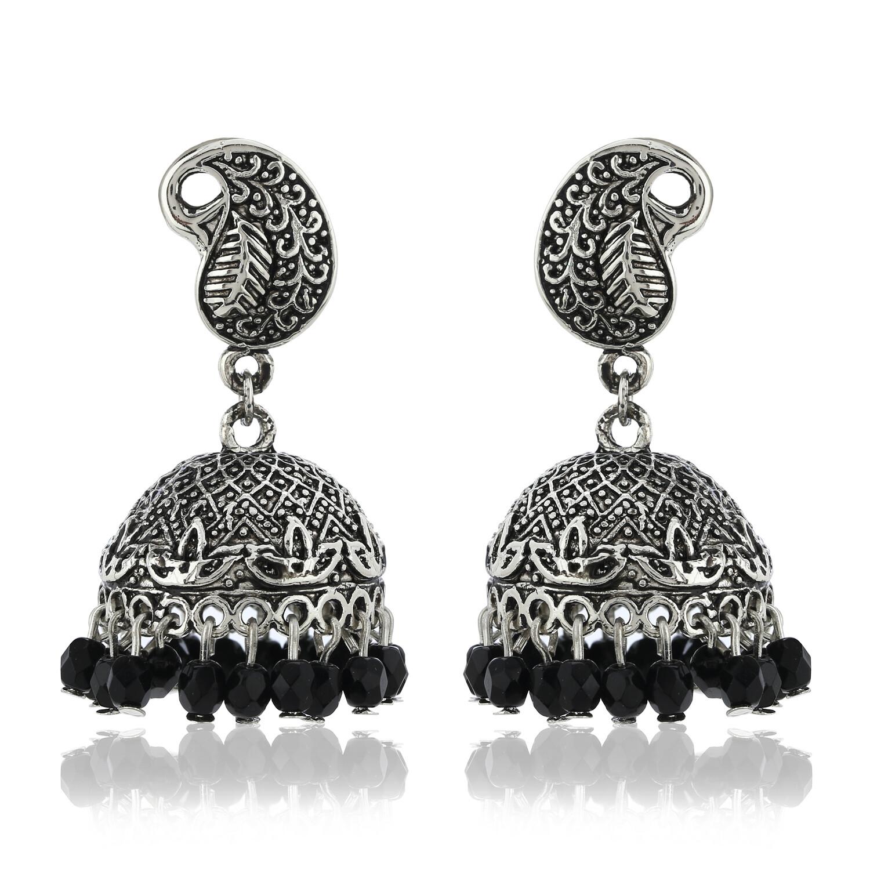 Estele Oxidised  Black Beads Jhumki