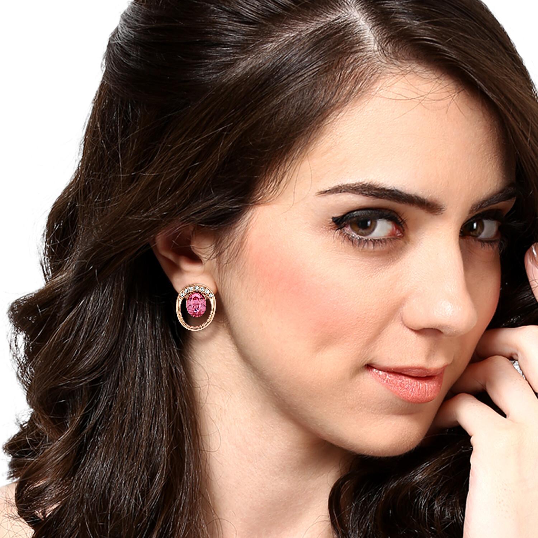 Estele Pink Love Swarovski Studs Earring