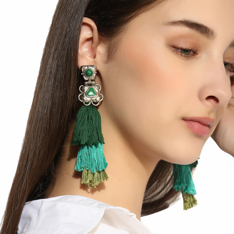 Estele Green Tassel Earrings