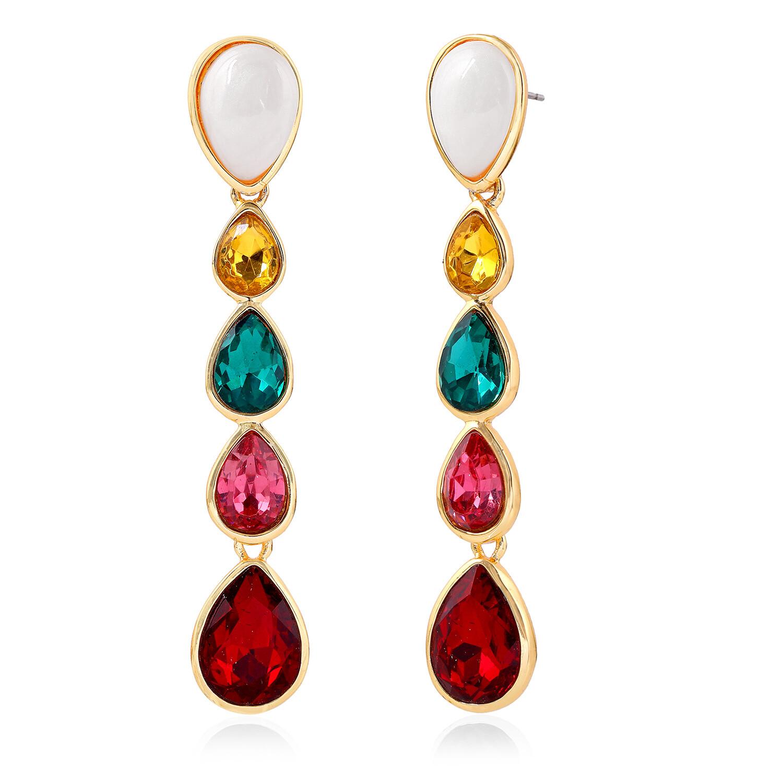 Estele Multicolour Gemstone Crystals Drop Earrings