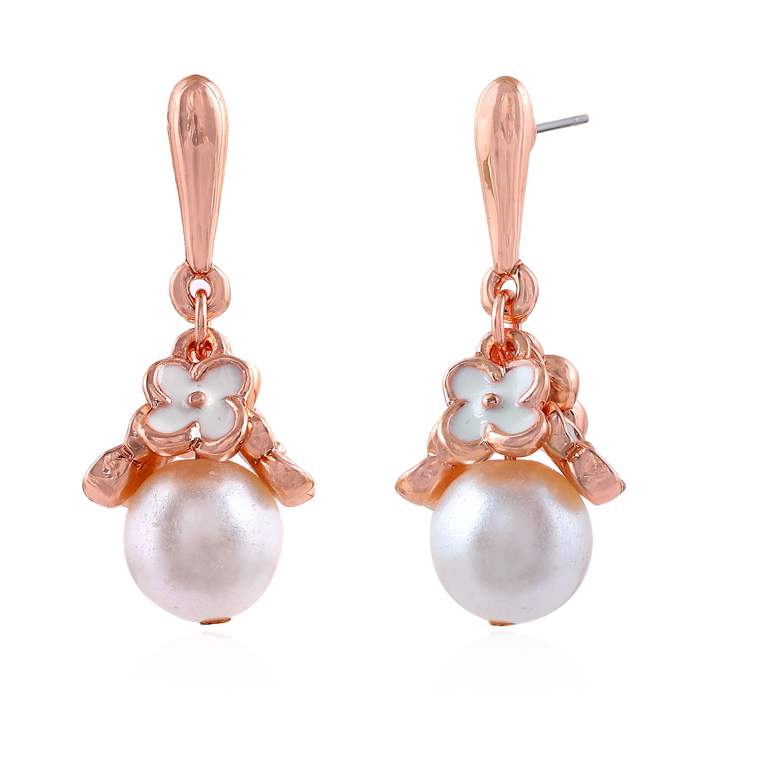 Estele Party Wear Gold Plated Floral Pearl Drop Earrings