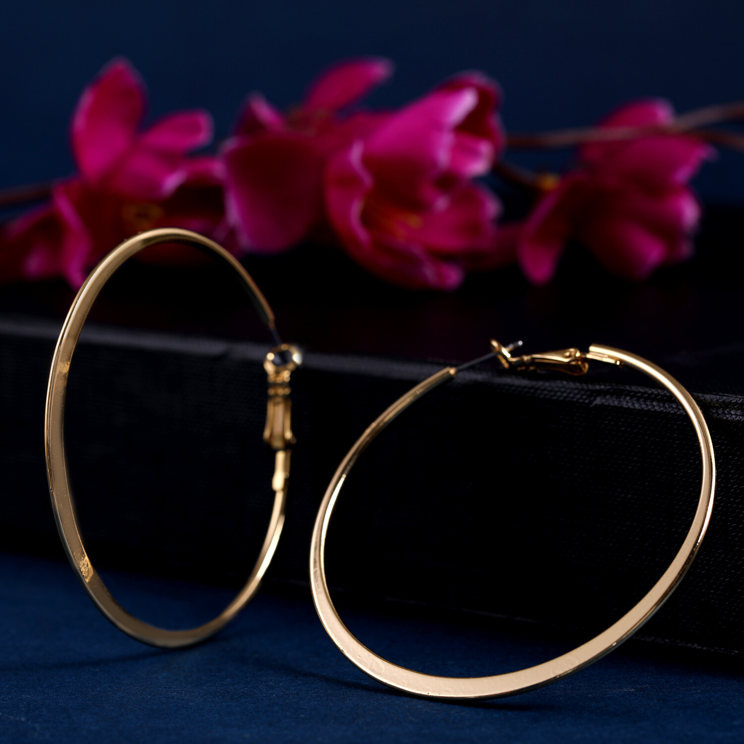Estele Special Golden Polish Big Round Hoop Earrings For Women & Girls