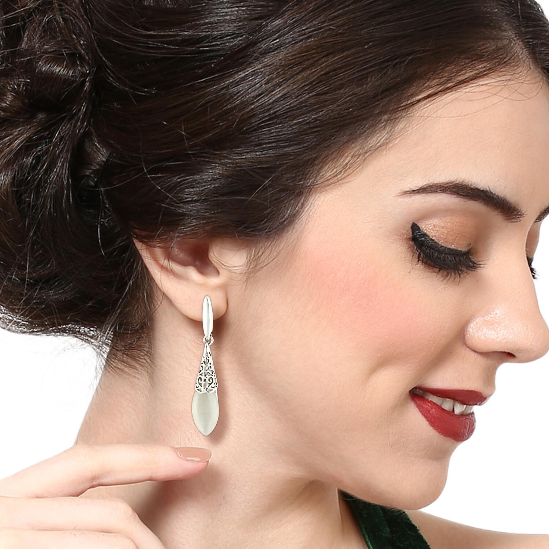 Estele White Enamel Drop Earring