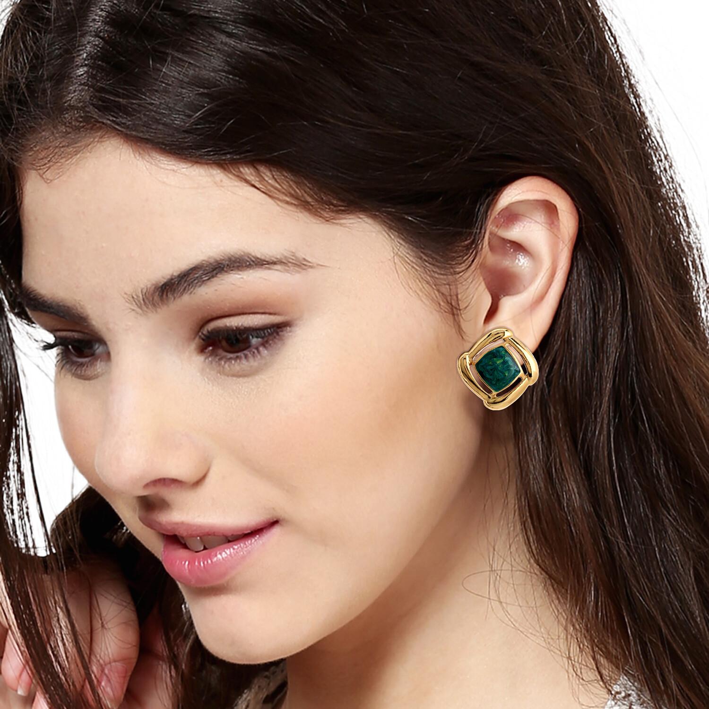 Estele gold with green enamel  earring