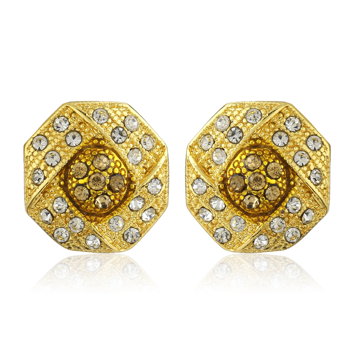 Estele Gold Plated White Austrian Crystal Stone Round Stud Earrings For Womens