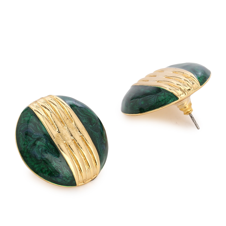 Estele Round Green Enamel Stud Earring