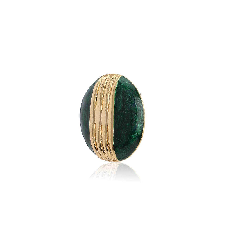 Estele Round Green Enamel Stud