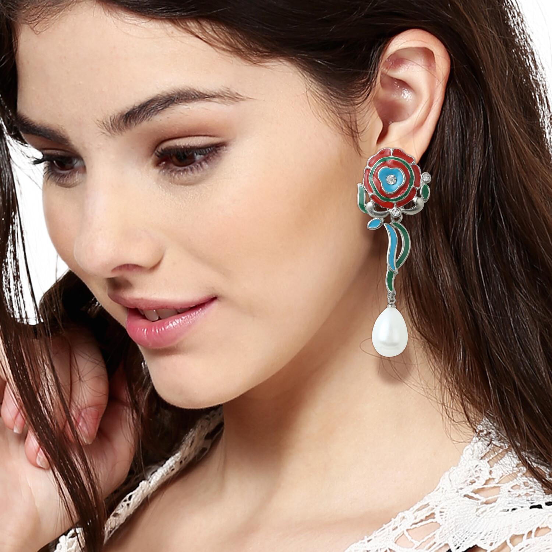 Estele Multi-coloured pearl drop earrings