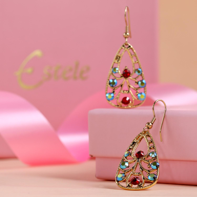 Estele Gold Plated Multi Color Swiss Crystal Drop Earrings