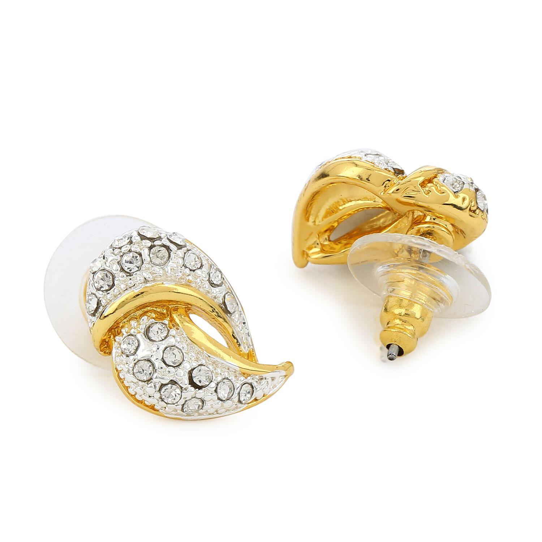 Estele Two Tone Plated Fashion Stud Earrings