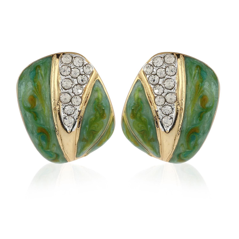 Estele Green Enamel Square Stud Earring