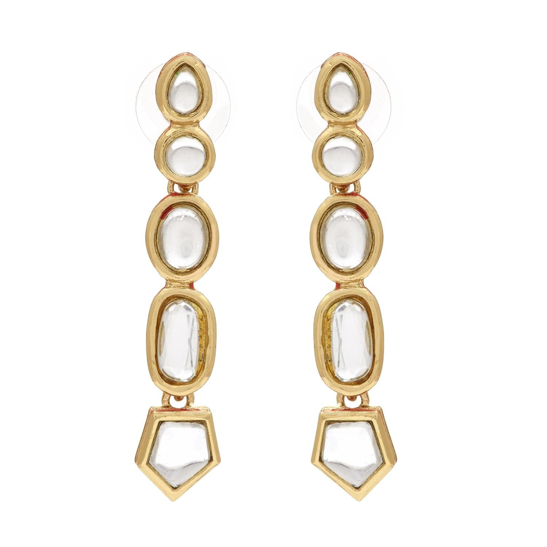 Estele Designer Kundan Long Traditional Earrings For Women