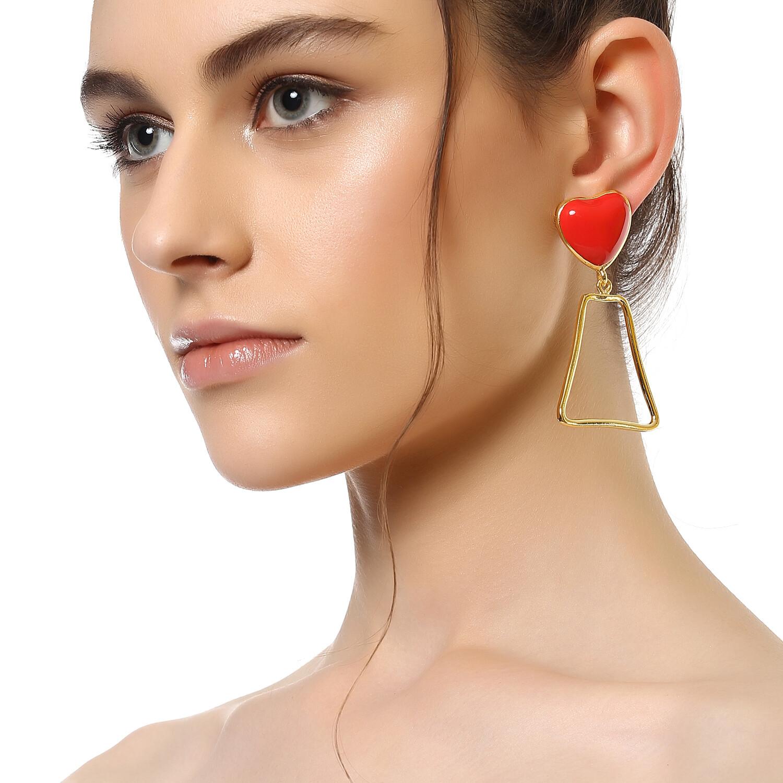 Estele Red Heart Earrings