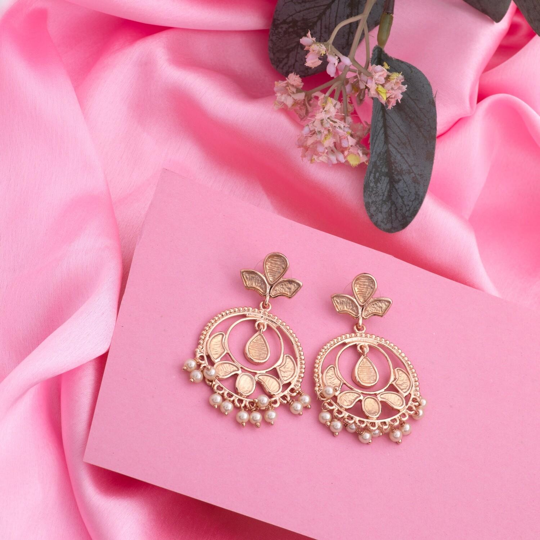 Estele Rose Gold Stylish Fancy Party Wear Pearl Earrings