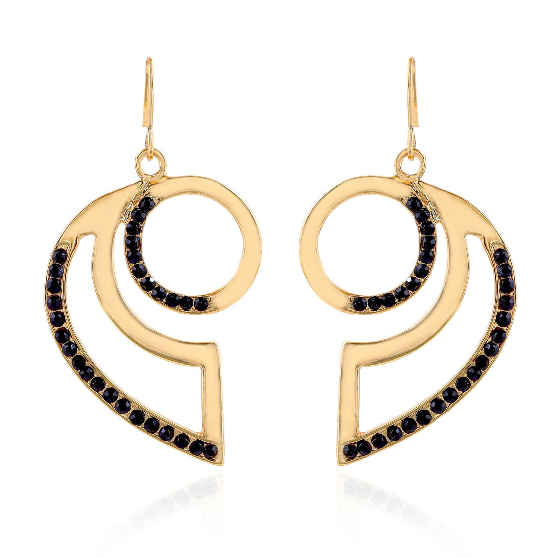 Estele Gold Tone Oval Shape Crystal Dangle Earrings