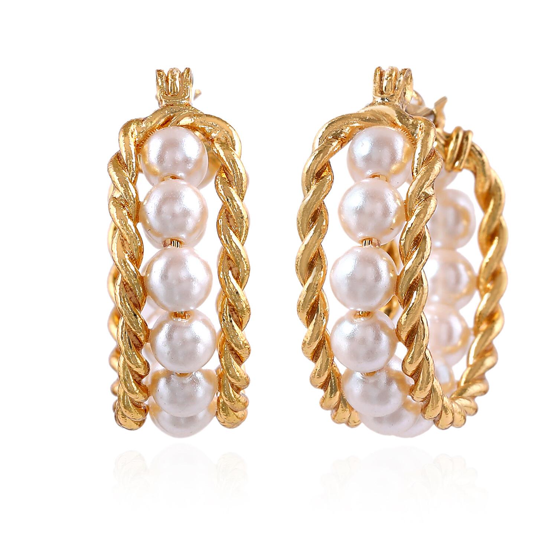 Estele Pompous Gold Plated Pearls Dangle Earring