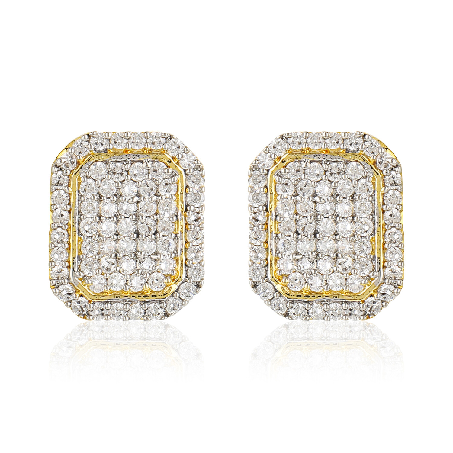 Estele Gold Plated Ad Stone Square Shaped Stud Earrings