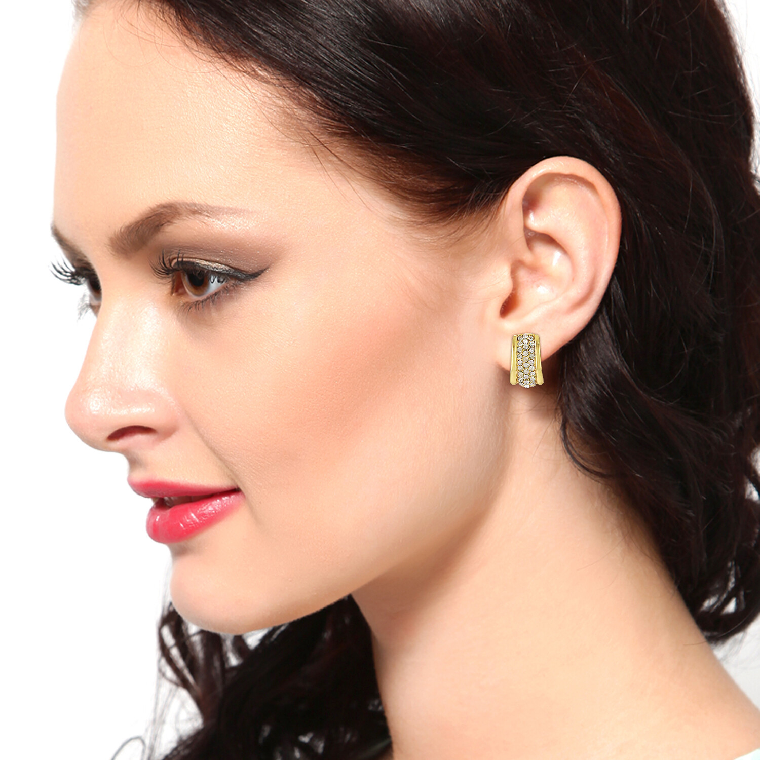 Estele Gold Tone Plated White Crystl Stone Stud Earrings