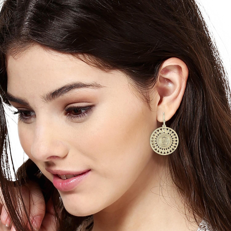 Estele Gold Plated Round Drop Hoop Earrings