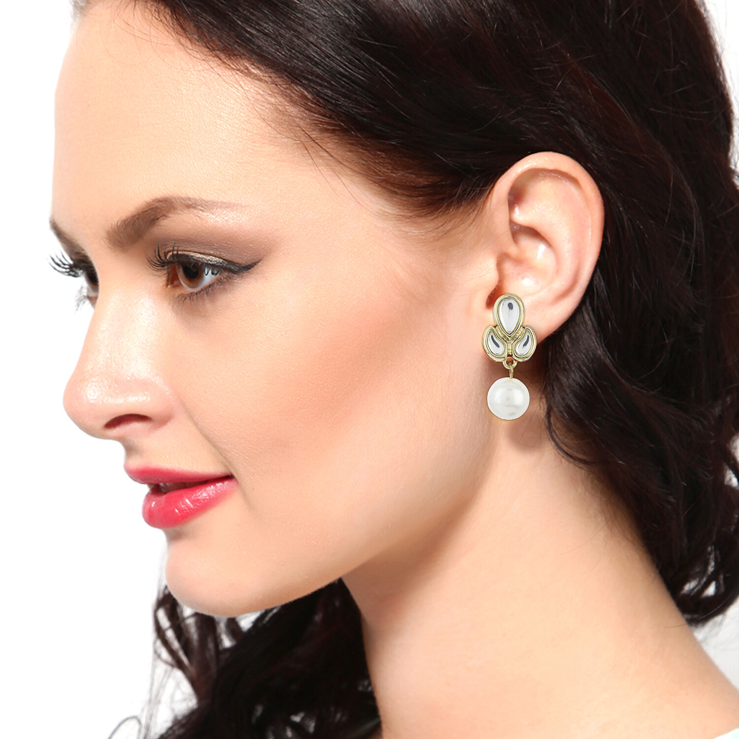 Estele Gold Plated Mirror kundan With Small Pearl Drop Earrings