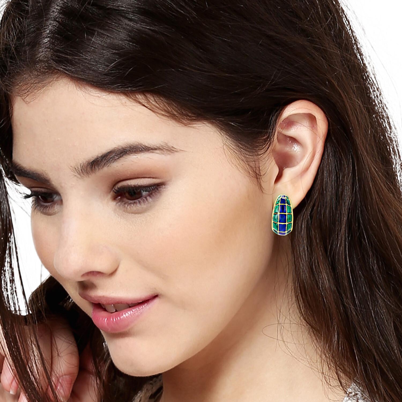 Estele Gold Plated Blue & Green Enamel Stud Earrings