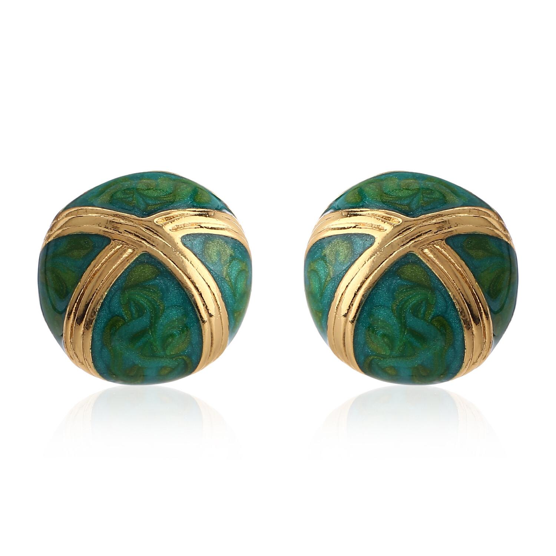 Estele Pretty Emerald Green Enamel Round Studs Earring