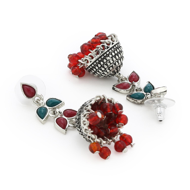 Estele Red colour pearl drop Jhumka Earrings