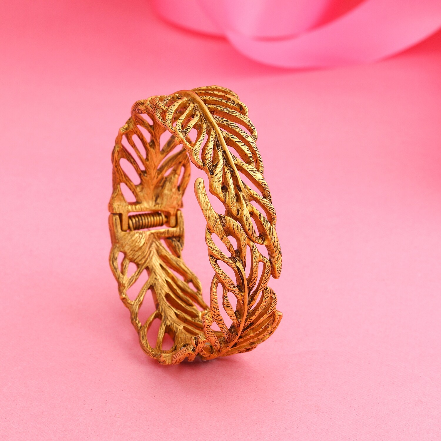 Traditional Antique Gold Plated Sweet Cherry Leaf Cuff Bracelet