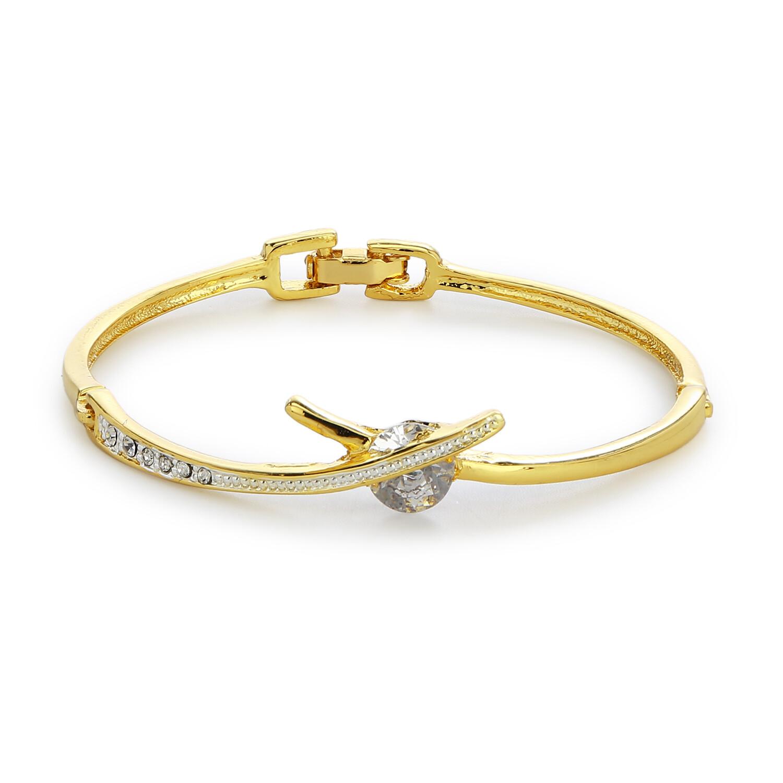 Gold Plated White Crystal Stone Designer Bangle Bracelet
