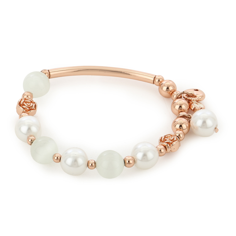 Flower Modal Flux Pearl Charm Bracelet