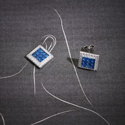 IndusDiva Square Shaped Micro Stone Sterling Silver Earring