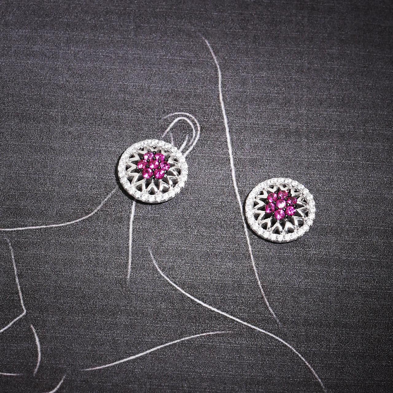 IndusDiva Round Shaped Micro Stone Silver Earring
