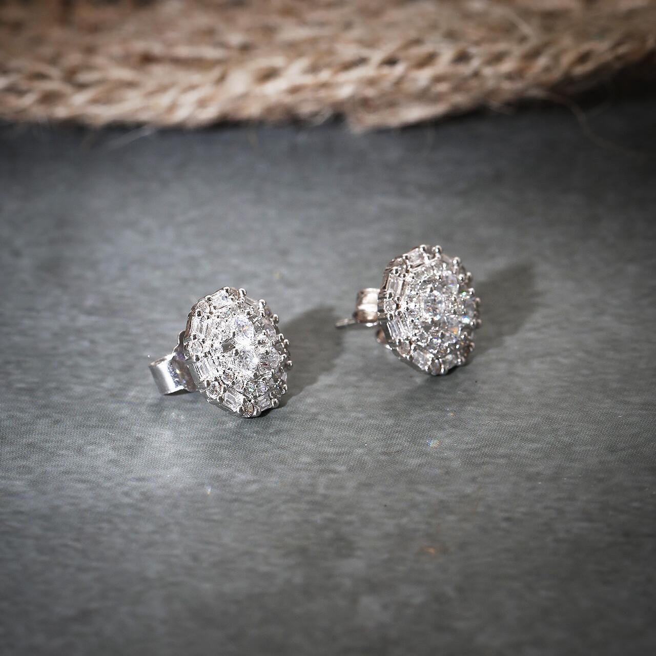 IndusDiva Rhodium Polished Round Shaped Micro Stone Earring