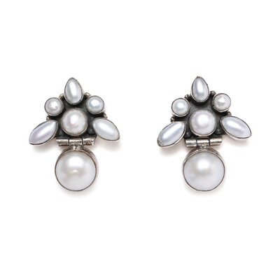 IndusDiva Real Pearl Hanging Silver Earring