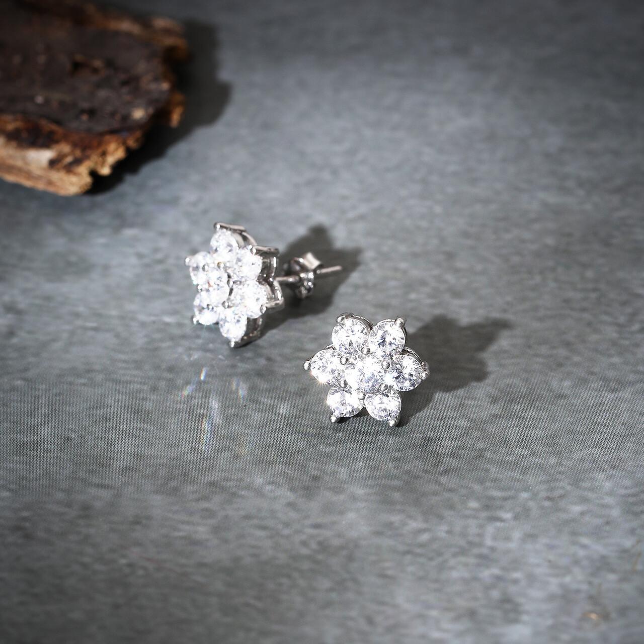 IndusDiva Flower Shaped Micro Stone Earring