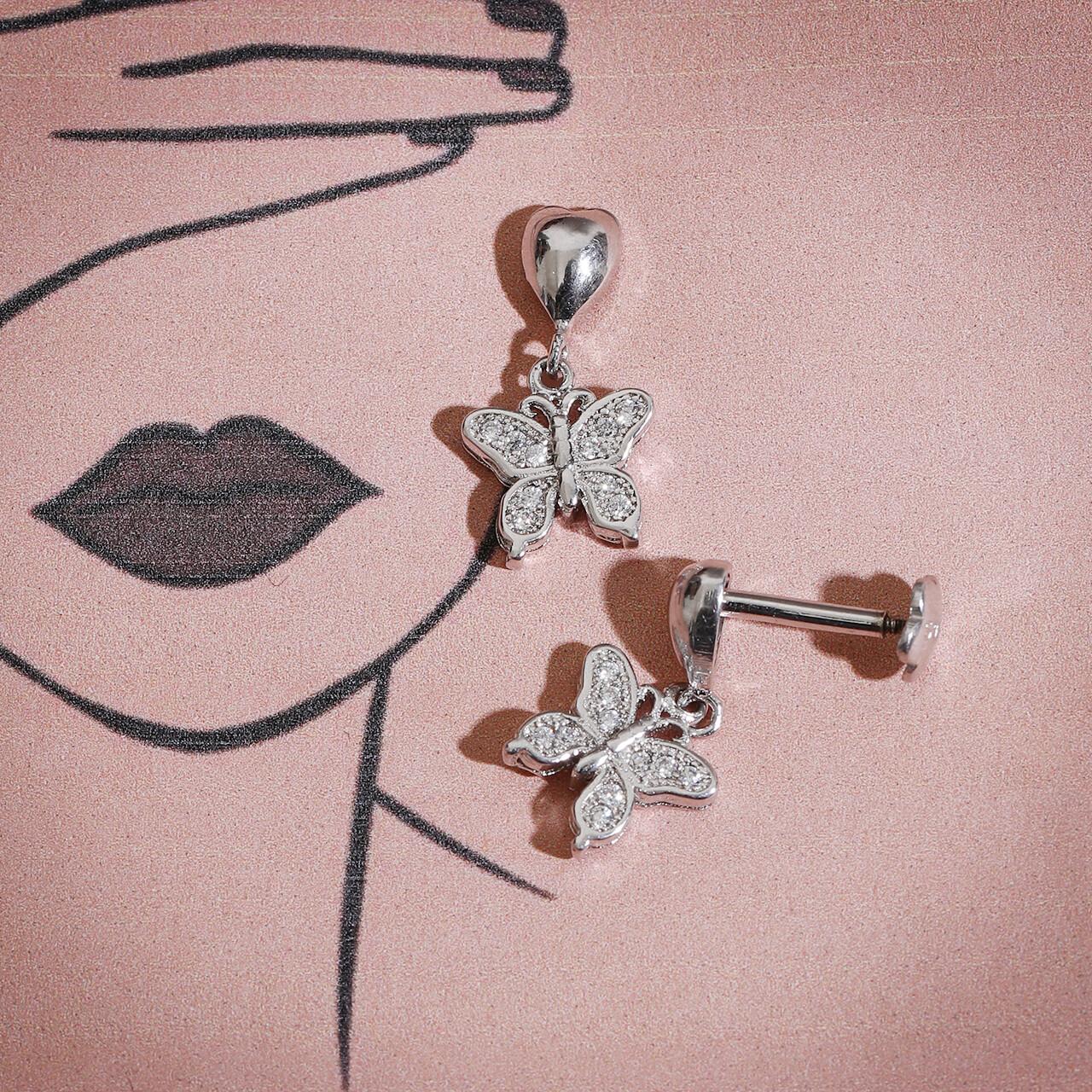 IndusDiva Micro Stone Hanging Silver Earring