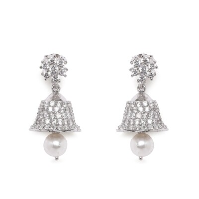 IndusDiva Micro Stone Sterling Silver Hanging   Earring