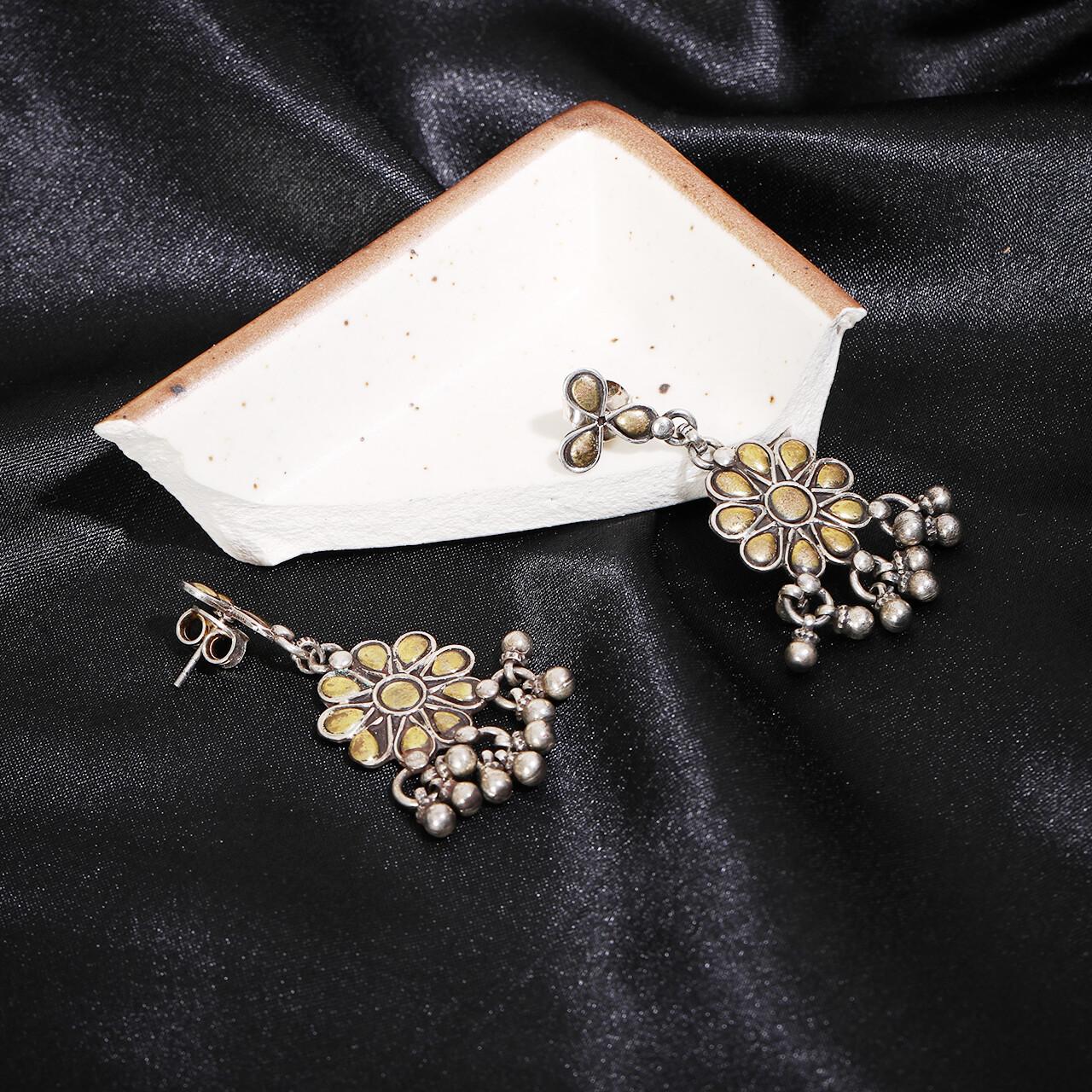 IndusDiva Oxidized Gold Polished Earring