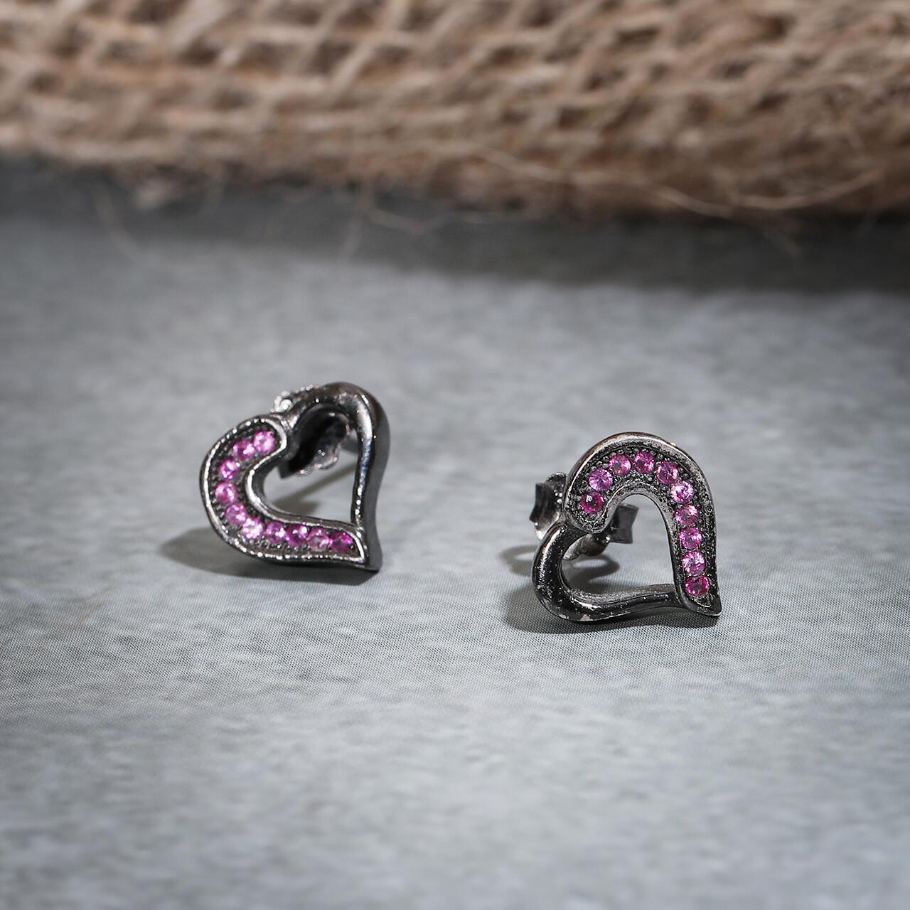 IndusDiva Coloured Micro Stone Studs Heart Earring