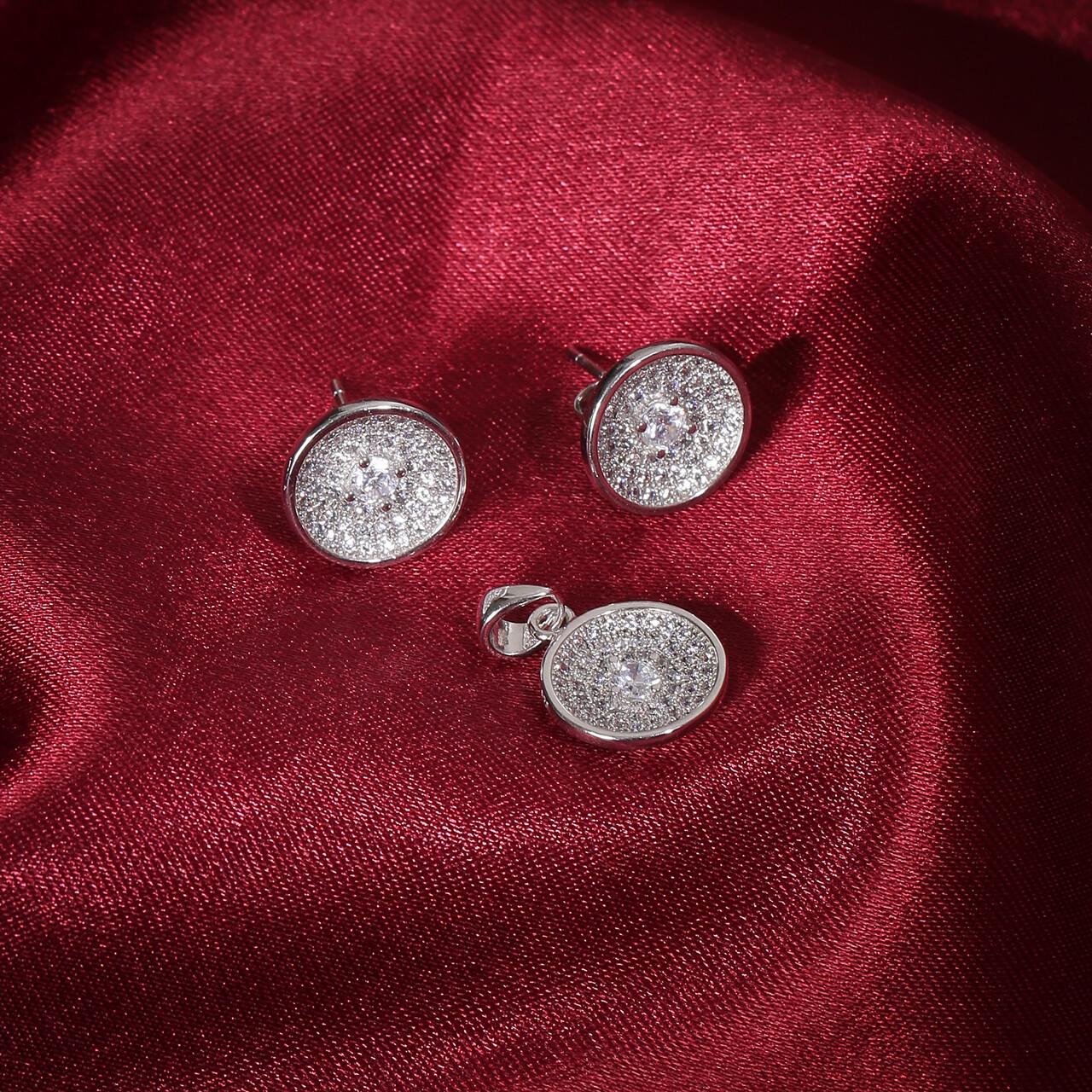 IndusDiva Bowl Shaped Micro Stone Studs Earring & Pendent Set