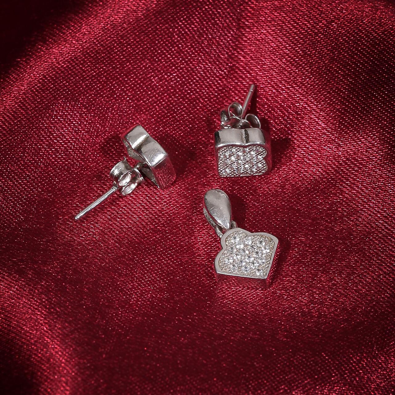 IndusDiva Square Shaped Micro Stone Studs Earring & Pendent Set